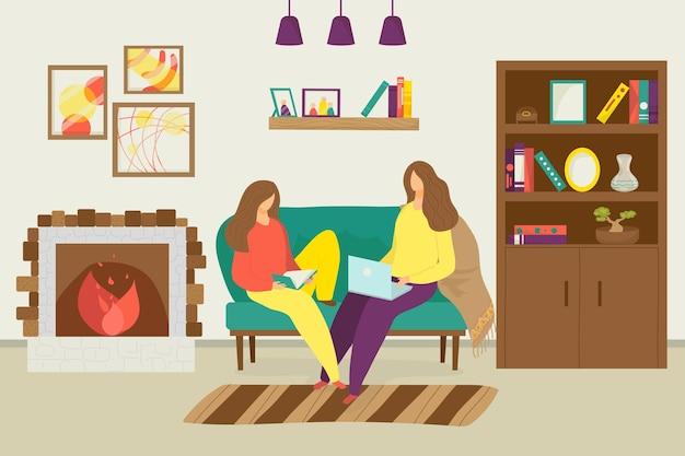 Female couple at home vector illustration flat lesbian woman character sitting in modern room young ...