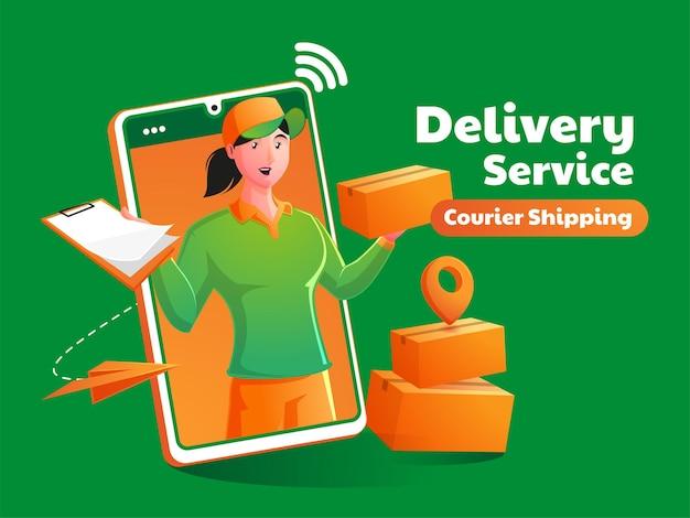 Женская курьерская служба доставки посылок с мобильного телефона