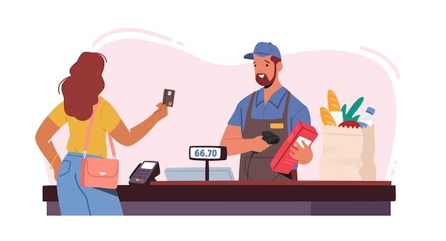 슈퍼마켓의 여성 고객 캐릭터 스탠드, 현금없는 온라인 결제를위한 신용 카드 준비