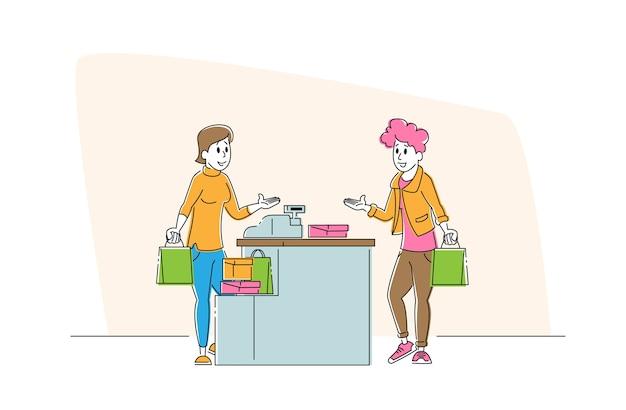 Женский персонаж-покупательница с товарами в стойке из бумажного пакета в супермаркете