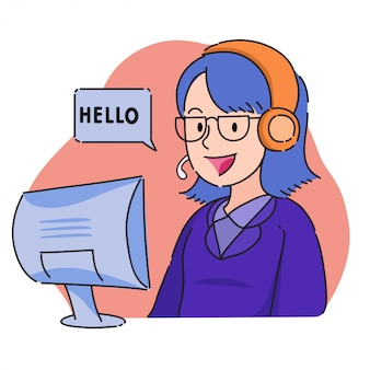 Female customer service operator with headset and say hello