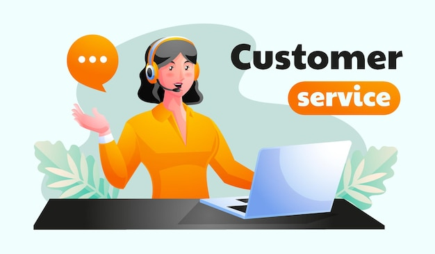 消費者の質問に答えるオフィスで働く女性のカスタマーサポート