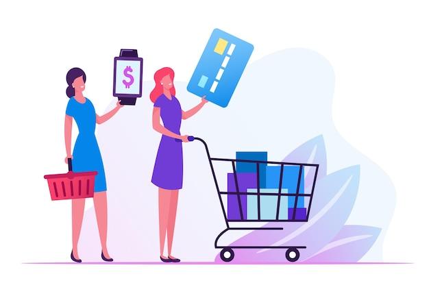スーパーマーケットの列に並ぶ女性客は、キャッシュレスオンライン決済のためにクレジットカードとスマートウォッチを準備します。漫画フラットイラスト