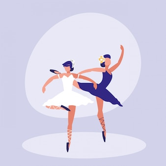 Female dancers ballet isolated icon
