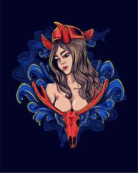 女性の悪魔の神話のアートワーク