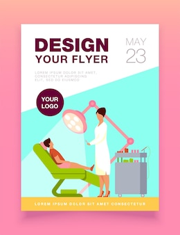 Female dentist curing boy in chair flyer template