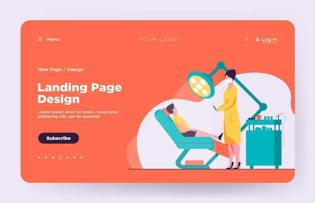 Female dentist curing boy in chair landing page