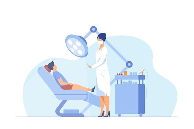 椅子の中で男の子を治す女性歯科医。歯、治療、歯痛フラットベクトルイラスト。口腔病学と医学の概念
