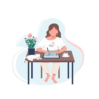 여성 디자이너 플랫 컬러 얼굴이없는 캐릭터. 여자는 디지털 태블릿에 그립니다. 아티스트는 장치로 작품을 만듭니다. 웹 그래픽 디자인 및 애니메이션에 대한 온라인 자습서 격리 된 만화 그림