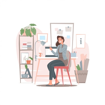 Female designer speaking on phone with client