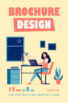Female designer working late in room flyer template