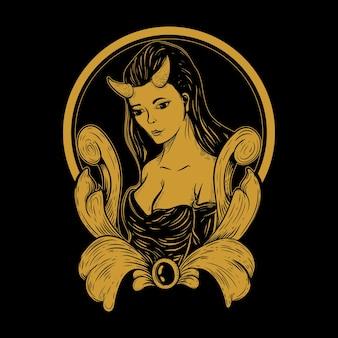 여성 악마 삽화 그림