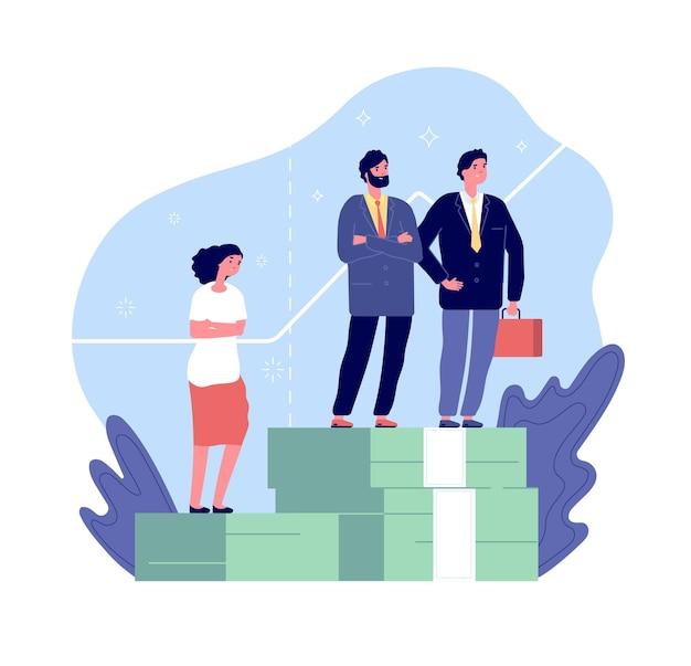 Женская дискриминация. гендерный разрыв, мужчины и женщины имеют неравные права. сексизм в концепции вектора несправедливого сравнения оплаты.