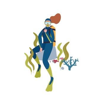 여성 다이버 평면 벡터 문자 그림입니다. 스쿠버다이빙 취미. 흰색 배경에 격리된 마스크와 아쿠아룽으로 바다 밑을 탐험하는 만화 여자. 활동적인 레크리에이션, 수중 수영.