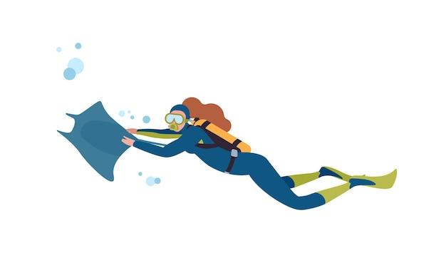 여성 다이버 평면 벡터 일러스트 레이 션. 가오리와 함께 수영하는 여성, 흰색 배경에 격리된 마스크와 아쿠아룽으로 수중 세계를 탐험합니다. 스쿠버다이빙 취미. 활동적인 레크리에이션.