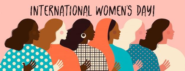さまざまな民族のポスターの女性の多様な顔。女性のエンパワーメント運動パターン。