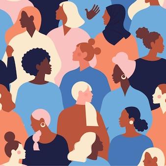 Женские разнообразные лица различной этнической принадлежности бесшовные модели. шаблон движения по расширению возможностей женщин. международный женский день .