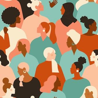 다른 민족성 완벽 한 패턴의 여성 다양 한 얼굴