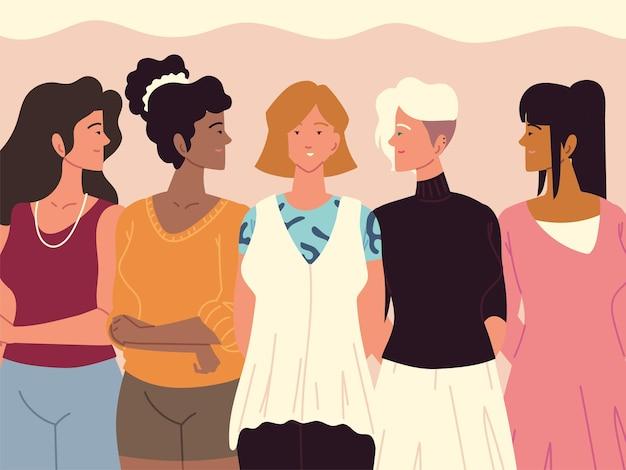 女性の多様なグループのアバターの肖像画