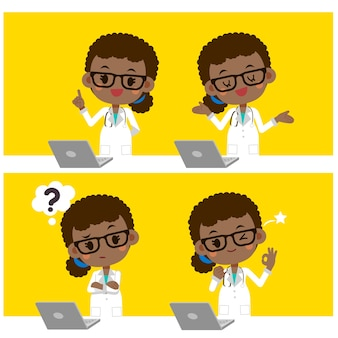 Female doctor actions with computer labtop.