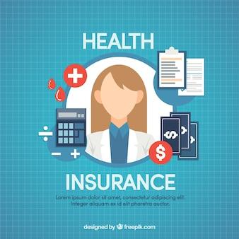 女性の医者と健康保険のアイコン