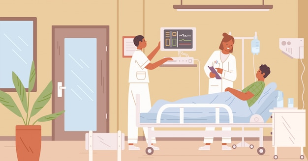 Женский доктор и медсестра посещают мужского пациента в комнате интенсивной терапии на иллюстрации больницы плоской.