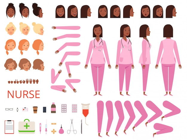 Female doctor animation. nurse hospital character body parts and clothes healthcare mascot creation kit