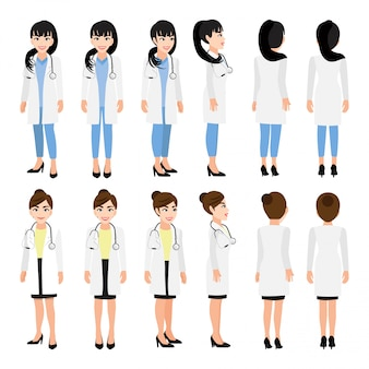Female doctor cartoon character. front, side, back, several view animated character. flat vector illustration.