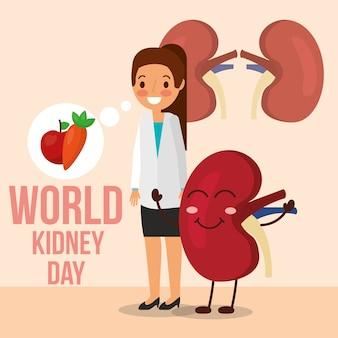 Female doctor and cartoon kidney food healthy