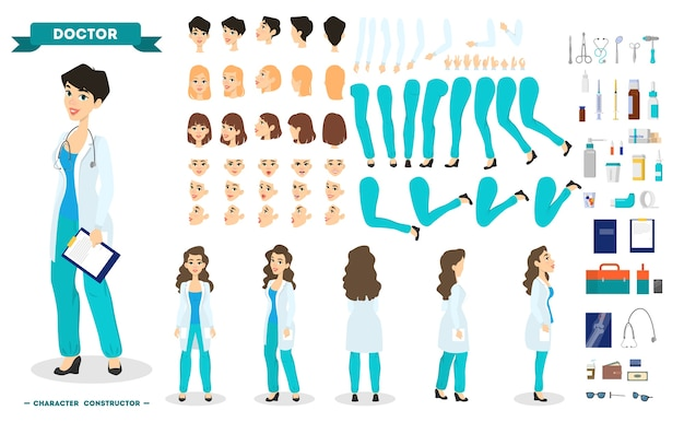 Female doctor character set for the animation with various views, hairstyle, emotion, pose and gesture. medical equipment. hospital worker in uniform. isolated vector illustration in cartoon style