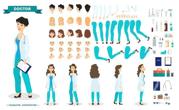 Набор персонажей-женщин-врачей для анимации с различными видами, прическами, эмоциями, позой и жестами. медицинское оборудование. работник больницы в униформе. отдельные векторные иллюстрации в мультяшном стиле