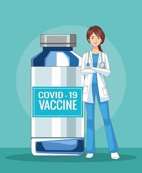 백신 유리 병 일러스트와 함께 여성 의사 캐릭터