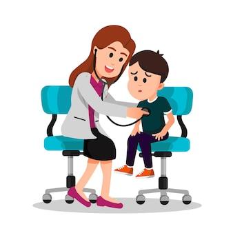 Female doctor checks a boys health with stethoscope