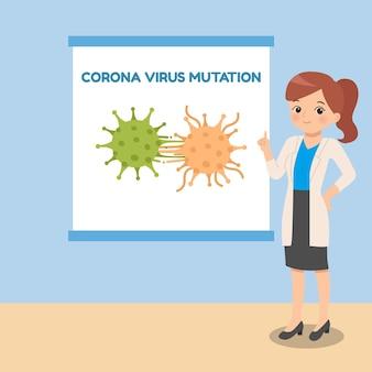 コロナウイルスの突然変異を説明する女性医師。パンデミック医療漫画のコンセプト。フラットなデザイン。