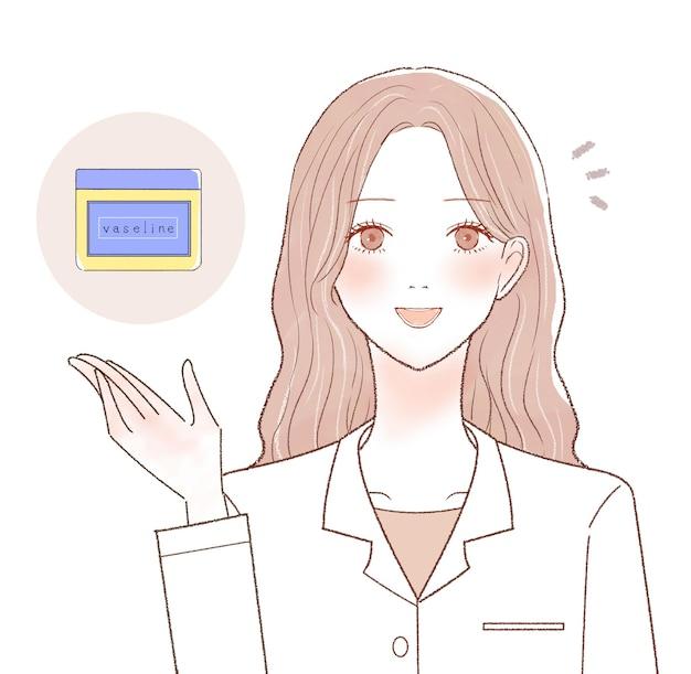 Female doctor explaining the effects of vaseline. on a white background.