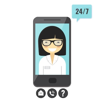 Female doctor gives an medical advise on smartphone. doctor consultation service