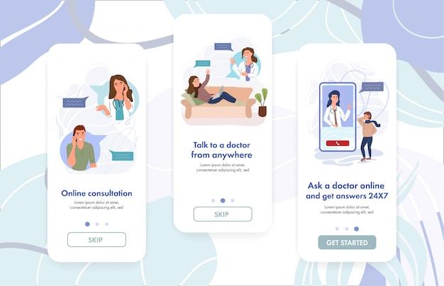 女医が患者にオンライン相談を行っています。仮想gpドクター診断。 vr医学。デジタルヘルスケア。ウェブサイトのバナーテンプレート。漫画イラスト。仮想クリニックアプリのコンセプト