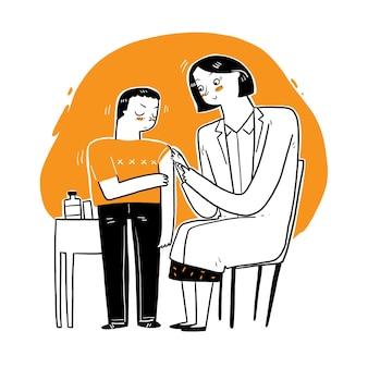 환자 백신, 독감 또는 인플루엔자 주사를 주거나 바늘로 혈액 검사를받는 여성 의사.