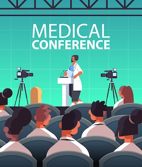 Female doctor giving speech at tribune with microphone medical conference medicine healthcare concept lecture hall interior vertical vector illustration