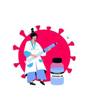 女性医師は、コロナウイルスワクチンcovid-19が入った巨大な注射器を持っています。予防接種キャンペーン。予防接種の時間です。