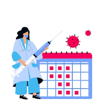 Female doctor holds huge syringe with coronavirus vaccine covid-19. vaccination schedule. immunization plan. time to vaccinate.