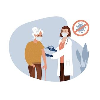 高齢の女性にコロナウイルスワクチンを与えるクリニックの女性医師、免疫の健康のための分離された概念。成人の予防接種、covid-19ワクチン。