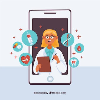 Female doctor in smartphone with icons