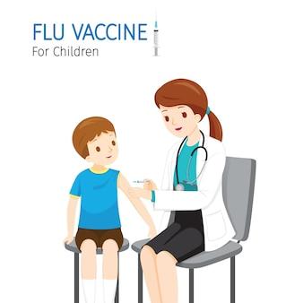 Female doctor injecting flu vaccine for children