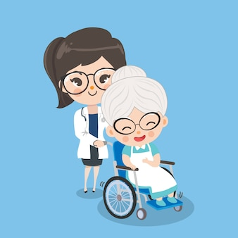 Female doctor is taking care of old woman patients with wheelchairs by better symptoms.