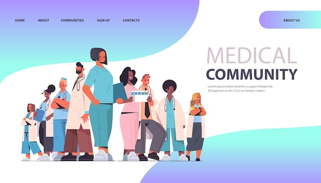 Female doctor leader standing in front of mix race professionals team in uniform medical community concept horizontal full length copy space vector illustration
