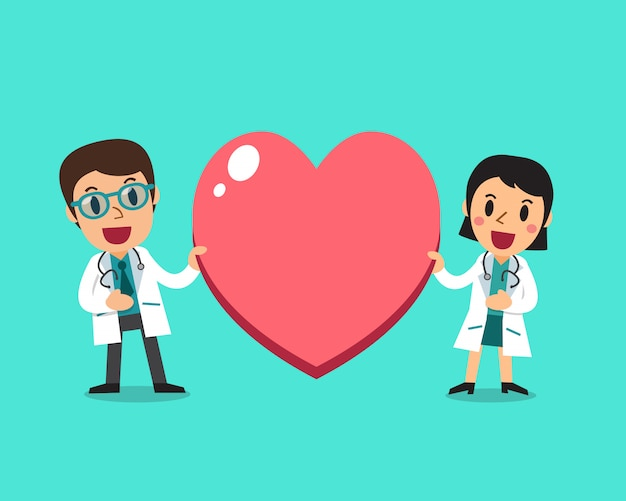 Female doctor and male doctor with big heart sign
