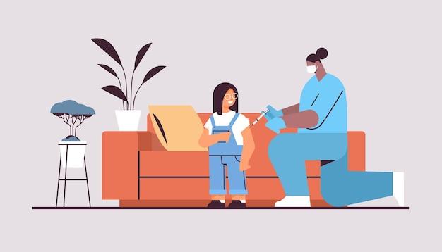 Female doctor in mask vaccinating little child patient fight against coronavirus vaccine development concept full length horizontal vector illustration