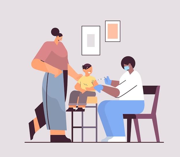 Female doctor in mask vaccinating little child patient fight against coronavirus vaccine development concept full length vector illustration