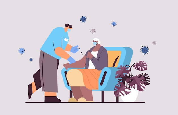 Female doctor in mask vaccinating old patient practitioner giving injection to senior woman fight against coronavirus vaccination concept horizontal full length vector illustration